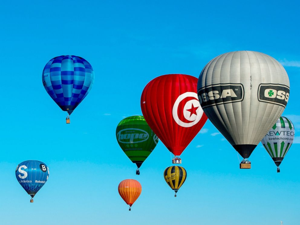 PHOTO: Hot air balloons fly over Igualada as part of the European Balloon Festival, July 10, 2014, in Igualada, Spain.