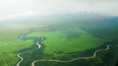 PHOTO: A river is seen from the air in West Kalimantan.