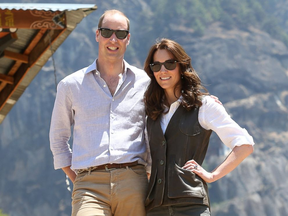 PHOTO: Prince William, Duke of Cambridge and Catherine, Duchess of Cambridge take a walk to the Tigers Nest Monastery on the second day of a two day visit to Bhutan, April 15, 2016 in Paro, Bhutan.