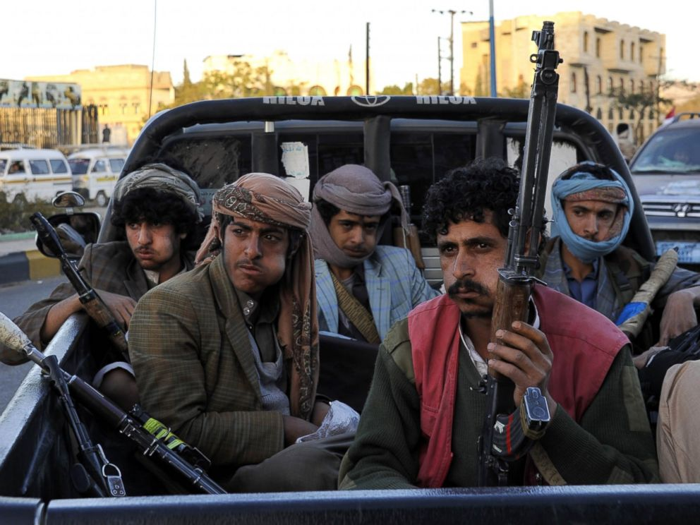 PHOTO: A group of Houthi Militia in Sanaa, Yemen, Feb. 07, 2015.