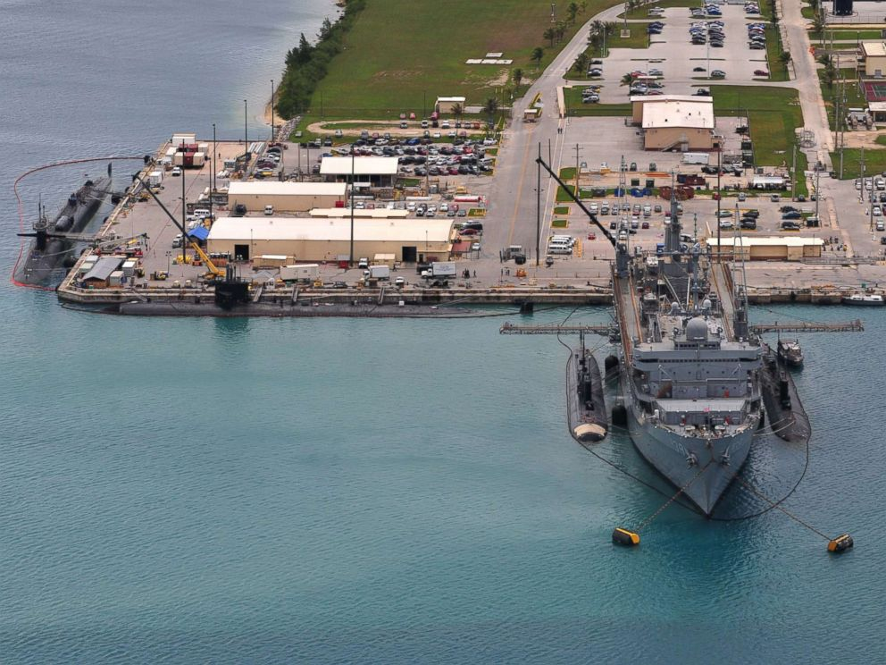 USS Emory S Land AS 39 provides support services to the various Los Angeles-class fast attack submarines and the Ohio-class guided-missile submarines at Polaris Point Guam