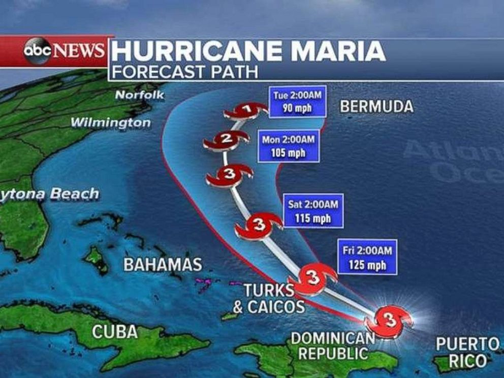 Warm with isolated rain locally, while Maria batters the islands