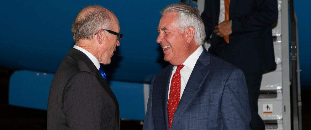 U.S. Secretary of State Rex Tillerson is greeted by U.S. Ambassador Robert Wood Johnson upon arrival in London, United Kingdom, on Sept. 14, 2017.