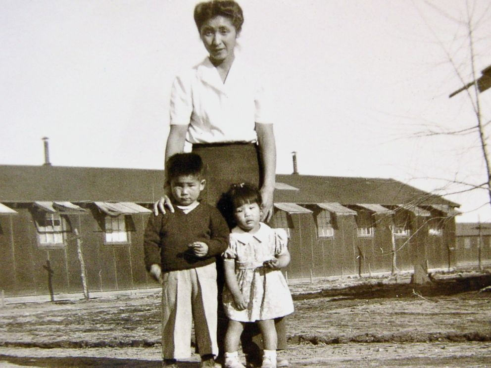 PHOTO: Satsuki Ina as a girl with her her brother, Kiyoshi, and mother, Shizuko Ina, at Tule Lake internment camp for Japanese Americans in 1945.