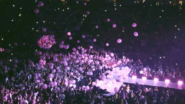 PHOTO: Pink balloons dropped from the ceiling inside Manchester Arena at the Ariana Grande concert on Monday night.