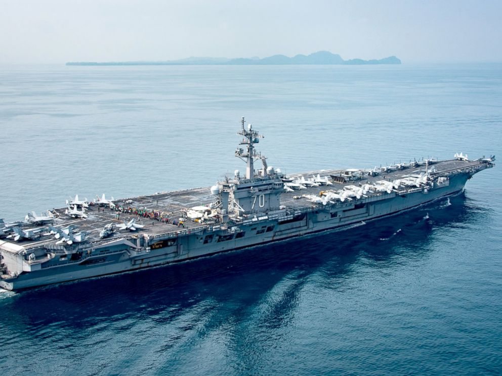 PHOTO: A Dept. of Defense handout photo showing the aircraft carrier USS Carl Vinson (CVN 70) as it transits the Sunda Strait, near Indonesia.
