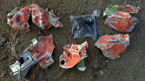 PHOTO: They found pieces of what appear to be aircraft debris strewn across the side of the mountain.