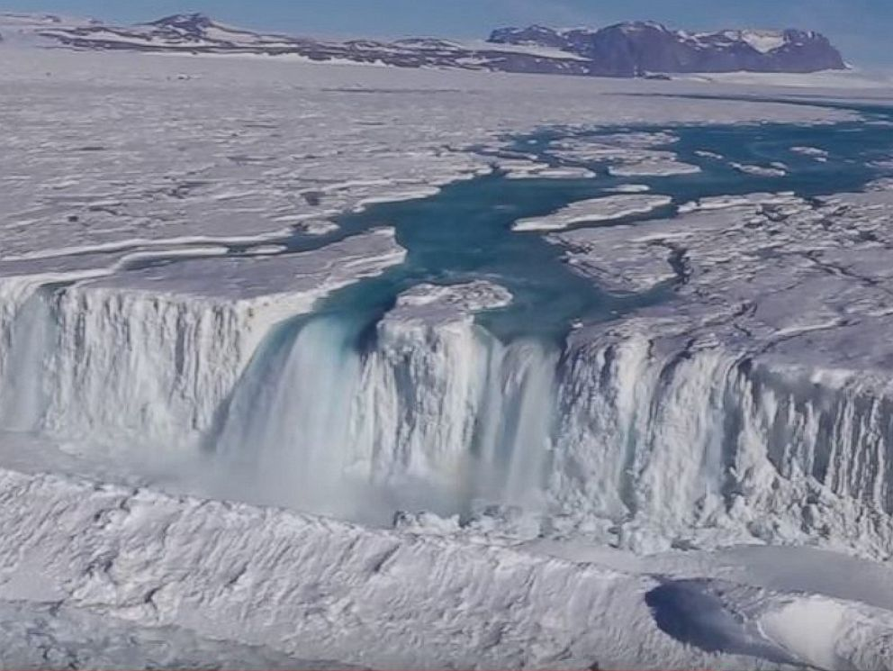 PHOTO: Earth Institute posted video taken by Wong Sang Lee/Korea Polar Research Institute, April 18, 2017, showing a 400-foot-wide waterfall draining off the Nansen Ice Shelf into the ocean.