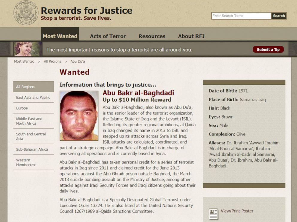 PHOTO: Screen grab of Rewards for Justice page of Abu Bakr al-Baghdadi.