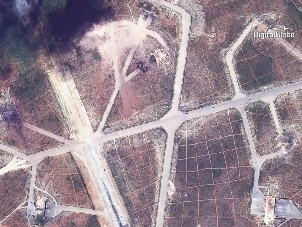 PHOTO: Satellite images show the airfield in Syria that was struck in the U.S. attack.