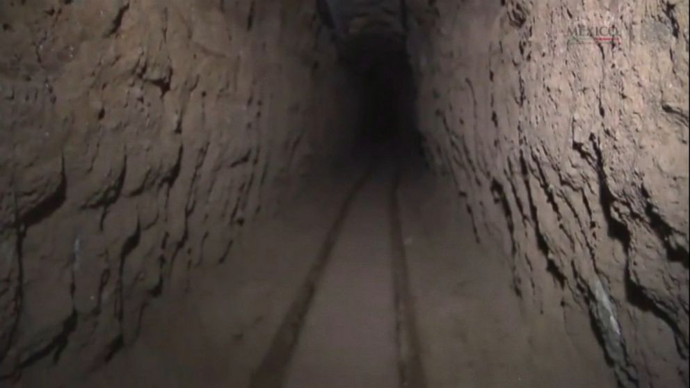 PHOTO: Tracks are seen in the tunnel and they were reportedly used to help transport materials out of the tunnel.
