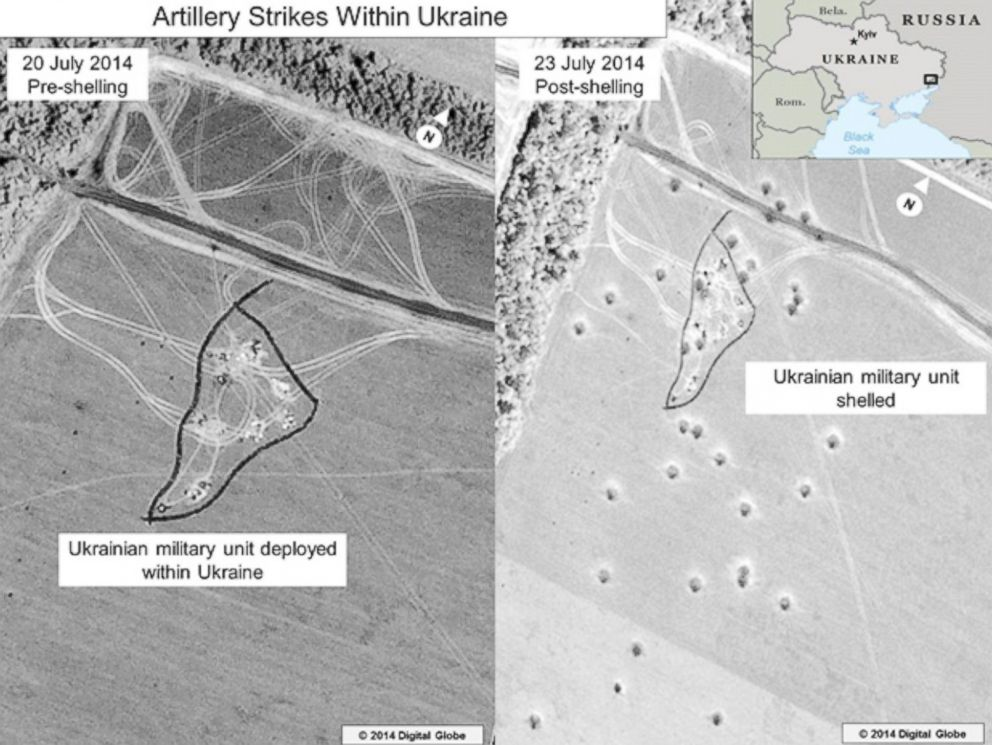 PHOTO: The ODNI says that this is a before and after close-up of the artillery strike depicted in the lower portion of the inset in the previous graphic.