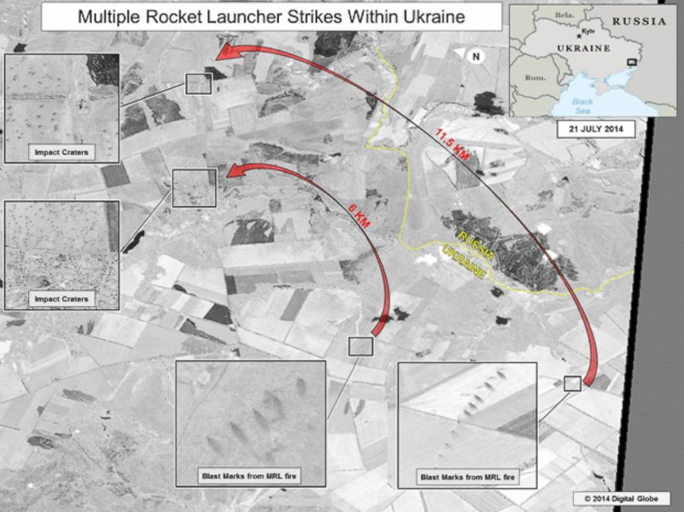 PHOTO: The ODNI says that this slide shows ground scarring at two multiple rocket launch sites oriented in the direction of Ukrainian military units.