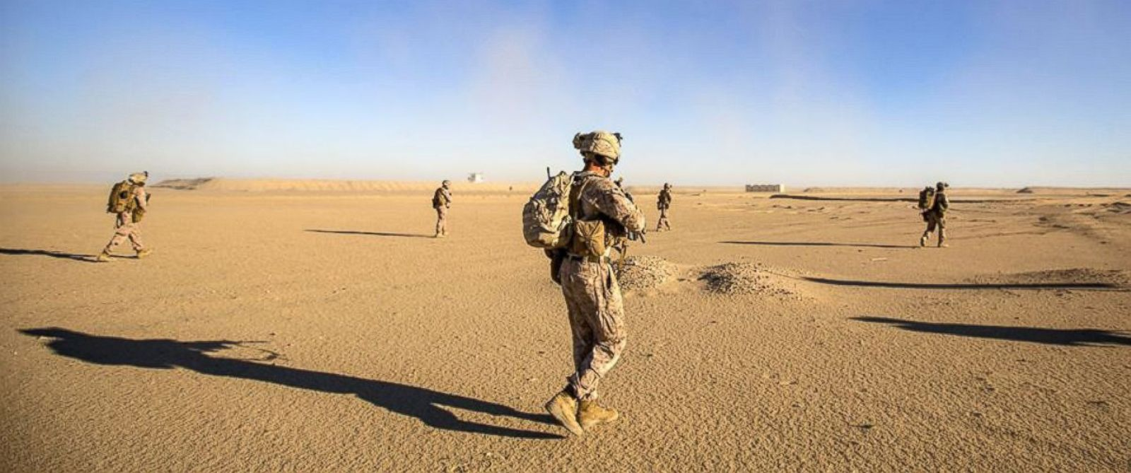 PHOTO: In this file photo,U.S. Marines patrol during a tactical exercise at an undisclosed location in Southwest Asia, Dec. 28, 2015.