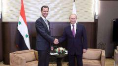 'PHOTO: Syrian President Bashar al-Assad met with Russia's Vladimir Putin in Sochi on Monday.' from the web at 'http://a.abcnews.com/images/International/HT_Assad_Putin_171131KA_16x9t_240.jpg'