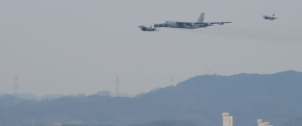 PHOTO: A United States Air Force B-52 Stratofortress from Andersen Air Base Guam, conducted a low-level flight in the vicinity of Osan, South Korea, in response to recent provocative action by North Korea Jan 10, 2015.