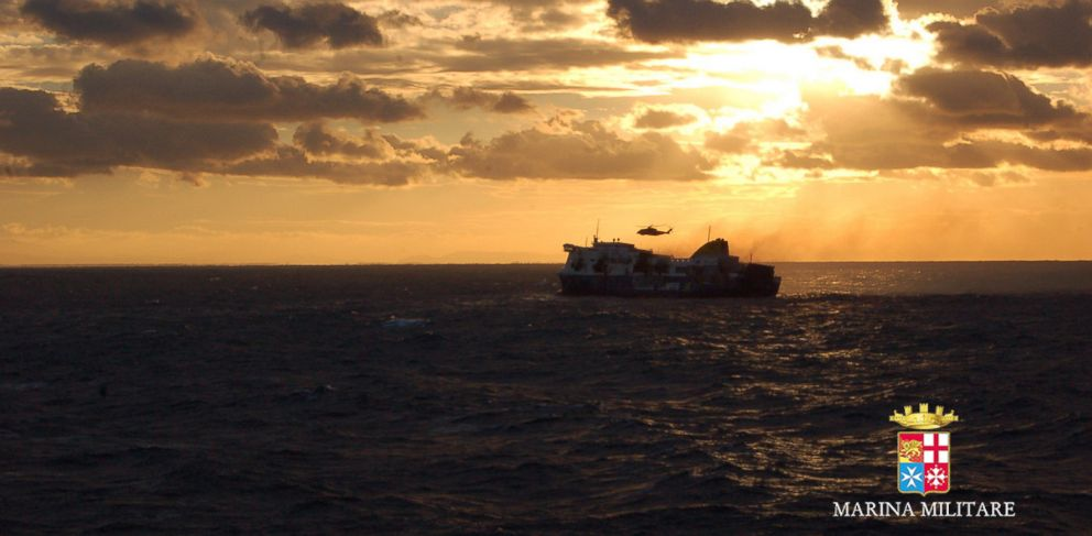 PHOTO: The Norman Atlantic ferry is seen in an image released by the Italian Navy, Dec. 29, 2014.