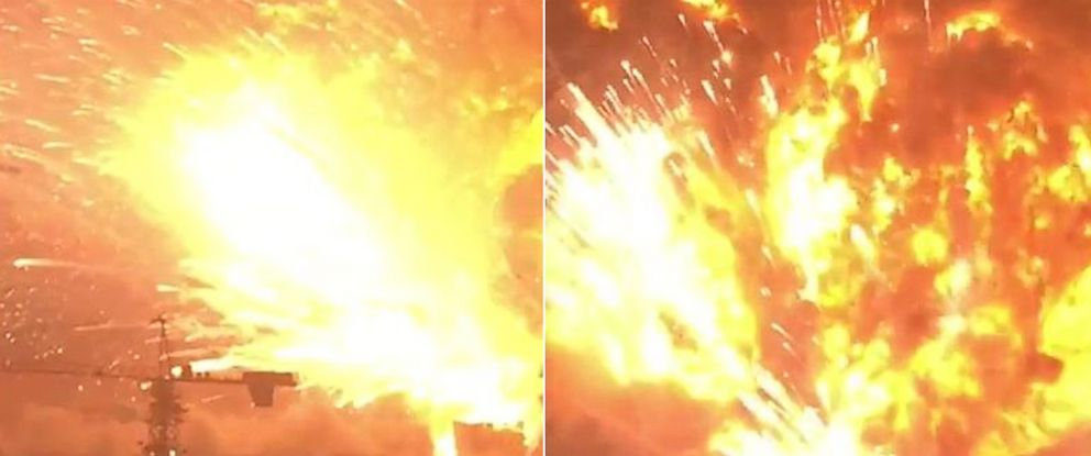 PHOTO: Still images from a video posted to YouTube on Aug. 12, 2015 by Daniel Van Duren show explosions in Tianjin, China.