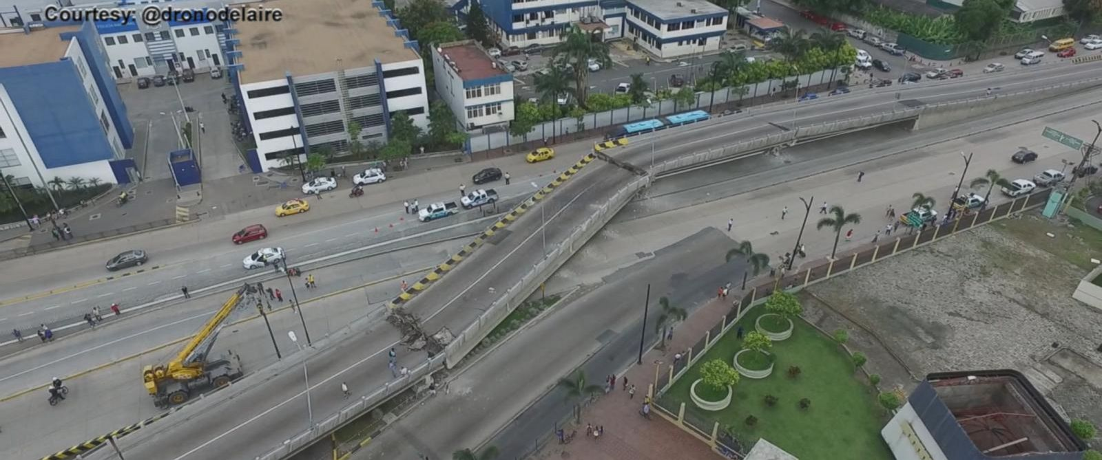 PHOTO: Aerial footage shows collapsed bridge in Guayaquil after a powerful quake hit Ecuador, April 17, 2016.