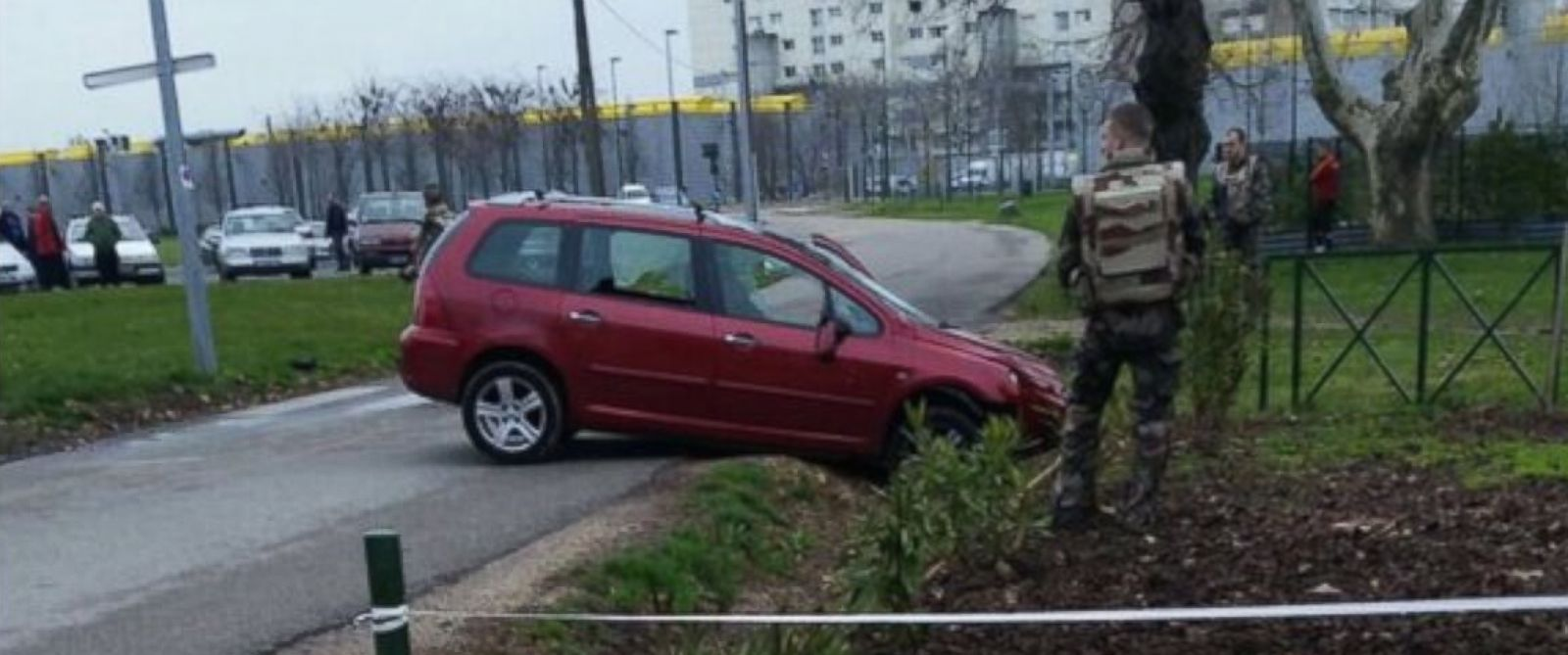 PHOTO: A unidentified man rammed his car into four soldiers guarding a mosque in the city of Valence, France on Jan. 1, 2016.