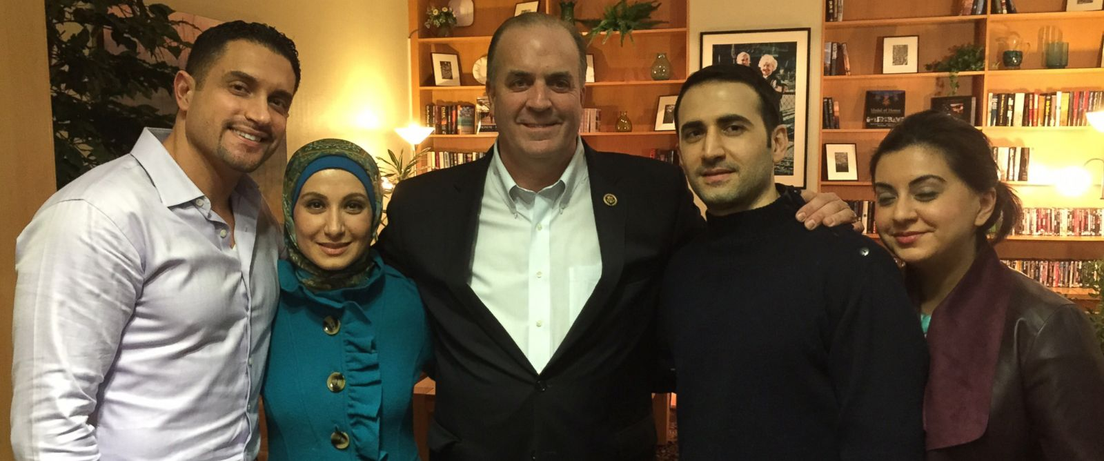 PHOTO: Dr. Ramy Kurdi, Sarah Hekmati, Congressman Dan Kildee, Amir Hekmati and Leila Hekmati. This was the first time the Hekmati family met in person with Amir Hekmati at the Landstuhl Regional Medical Center in Germany.