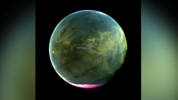PHOTO: MAVEN's Imaging UltraViolet Spectrograph obtained this image of Mars on July 13, 2016, when the planet appeared nearly full when viewed from the highest altitudes in the MAVEN orbit.