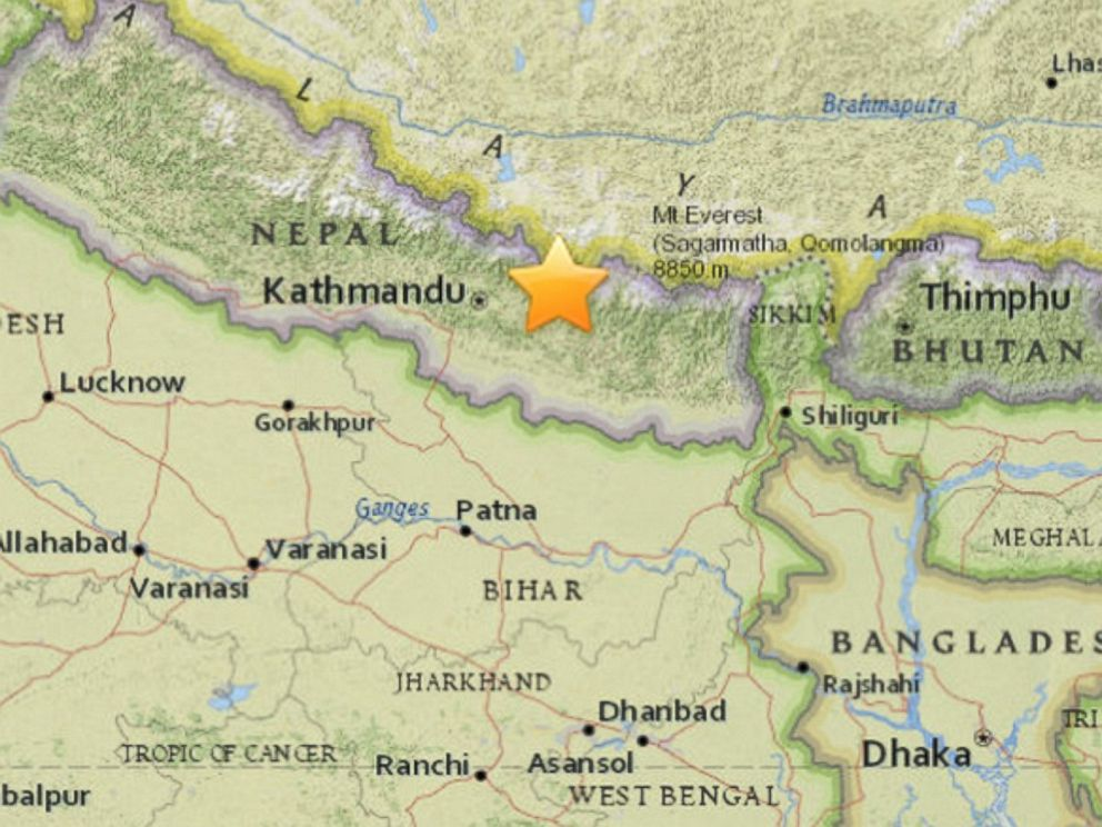 PHOTO: An image released by the United States Geological Survey shows the location of an earthquake in Nepal, May 12, 2015.