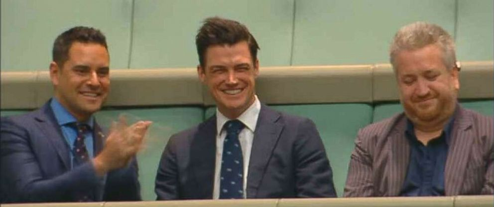 """Ryan Bolger has a big smile across his face after saying """"yes"""" to Austrilian PM Tim Wilsons proposal."""