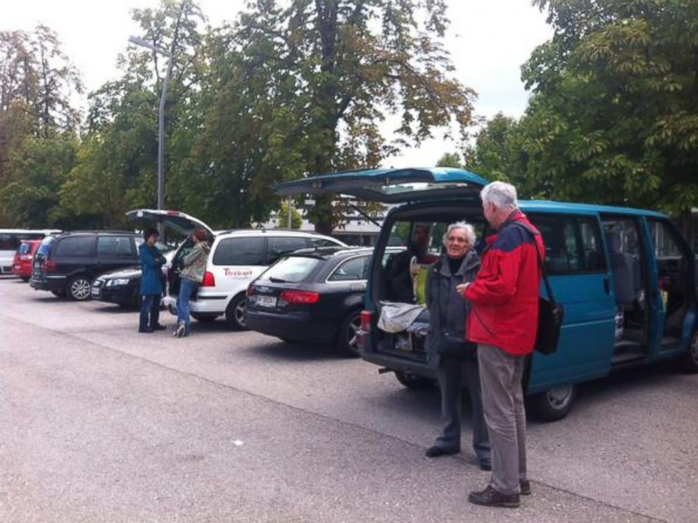 PHOTO: About 50 cars and vans gather in Vienna on Sept. 6th to shuttle refugees across Hungarian border.