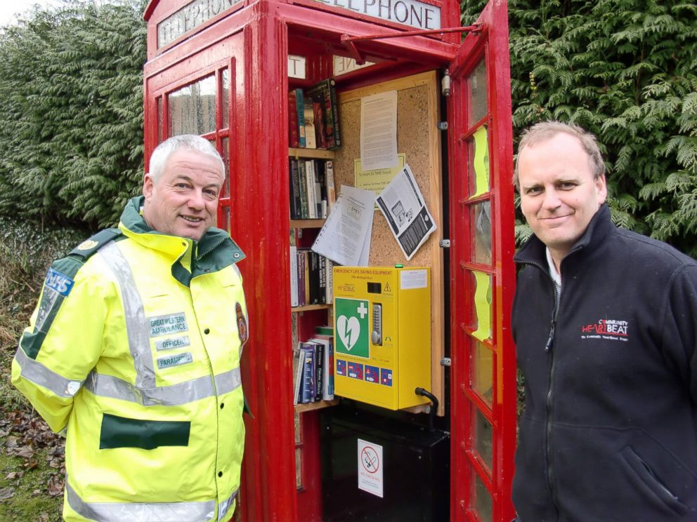 PHOTO: Britains iconic red phone booths are quickly disappearing from the streets, but this phone booth has been transformed into a defibrillator stations.