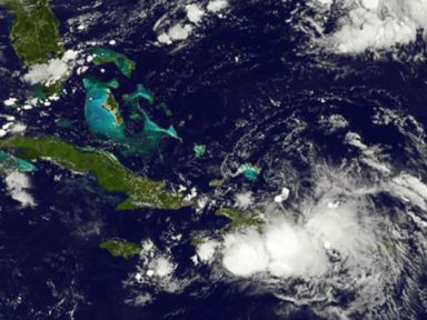 PHOTO: This NASA-NOAA GOES East satellite photo of tropical storm Gaston, was upgraded to the third hurricane of the Atlantic season, Aug. 25, 2016.