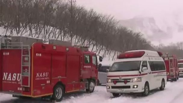 PHOTO: Rescuers at a ski resort near Tokyo, Japan, where an avalanche injured high school students.
