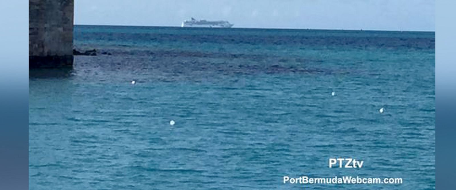 PHOTO: The Norwegian Dawn is seen on May 19, 2015 in this grab from a lifestream provided by PortBermudaWebcam.com