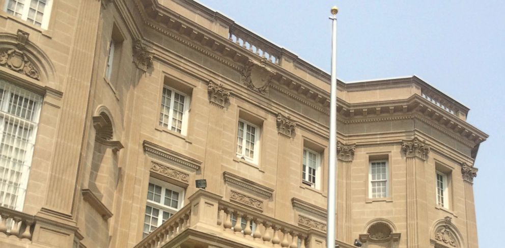 PHOTO: The Flag pole in front of the Cuban Interest Section in Washington, D.C. stands for the first time. It cannot fly a flag, however, until after it is officially declared an Embassy.