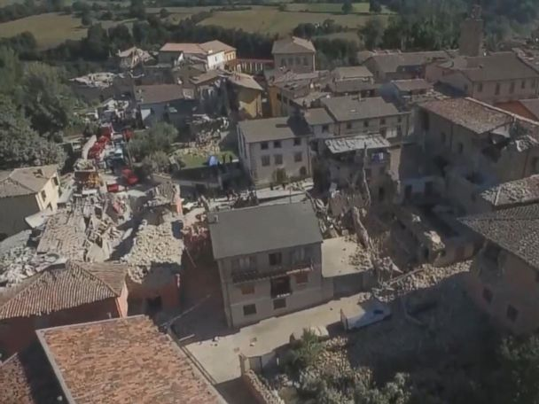 Aerial Video Shows Italian Town Devastated by Earthquake