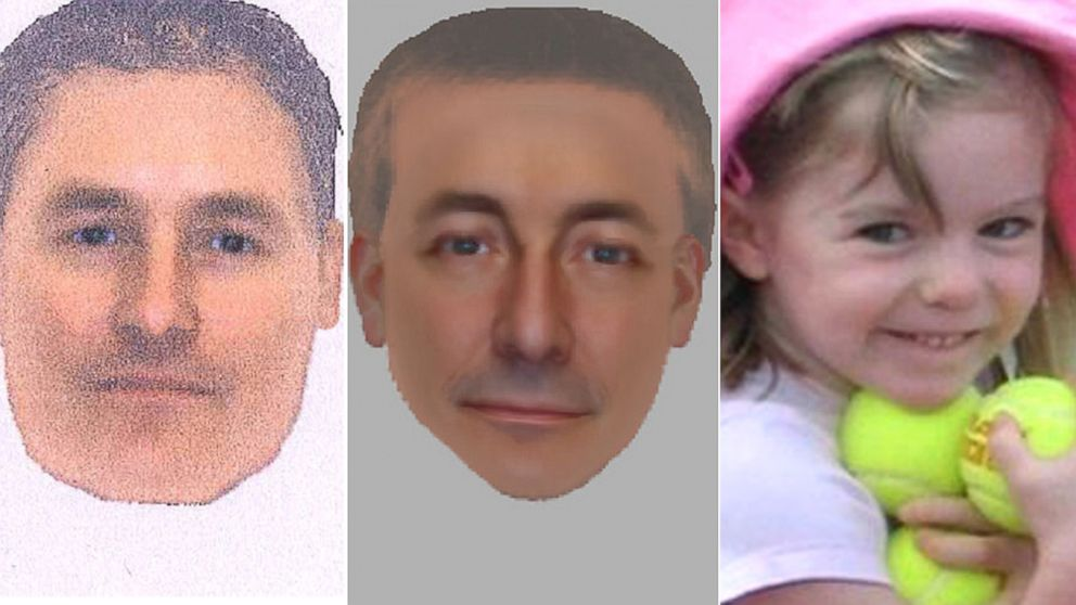 PHOTO: Left and center, undated e-fit images issued by the Metropolitan Police believed to be of the same man seen in Praia da Luz at the time of the disappearance of 3-year-old Madeleine McCann in 2007.