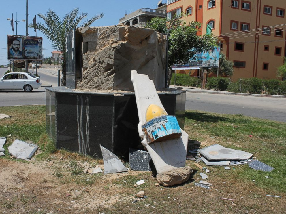 PHOTO: A monument depicting the al-Aqsa mosque in Jerusalem lies broken after damages sustained over several days of Israeli airstrikes.