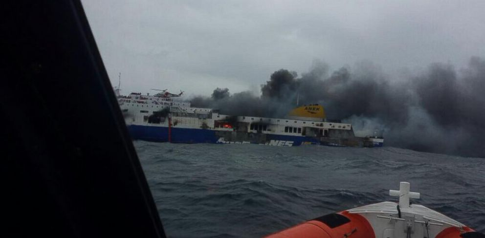 PHOTO: The Italian Coast Guard released this photo showing the Norman Atlantic ferry that caught fire in the Adriatic Sea, Sunday, Dec. 28, 2014.
