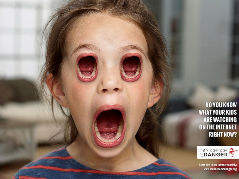 PHOTO: The German ad agency Publicis Frankfurt has created a series of shocking images of kids whose eyes are replaced by screaming mouths as part of a campaign to urge parents to pay attention to what their children are doing online.