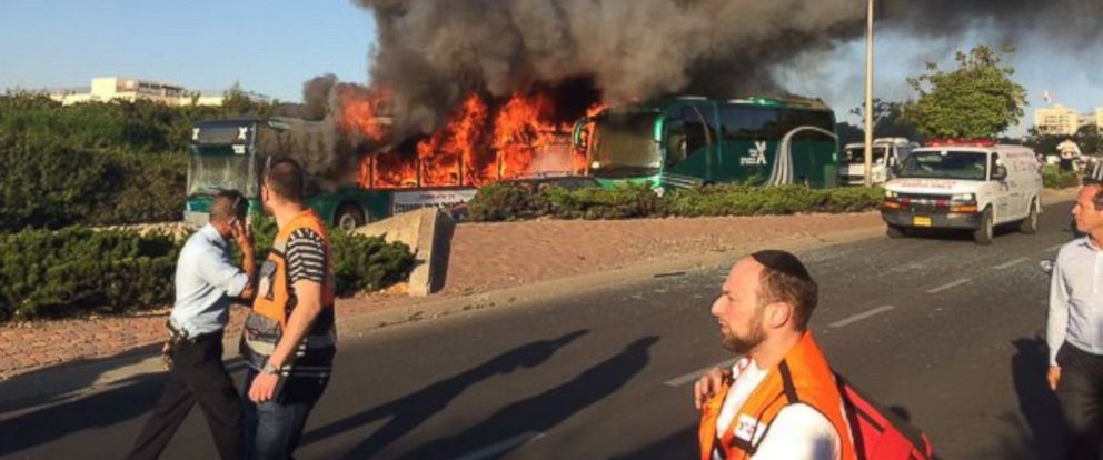 PHOTO: Police are investigating a bus explosion in Jerusalem, April, 18, 2016.
