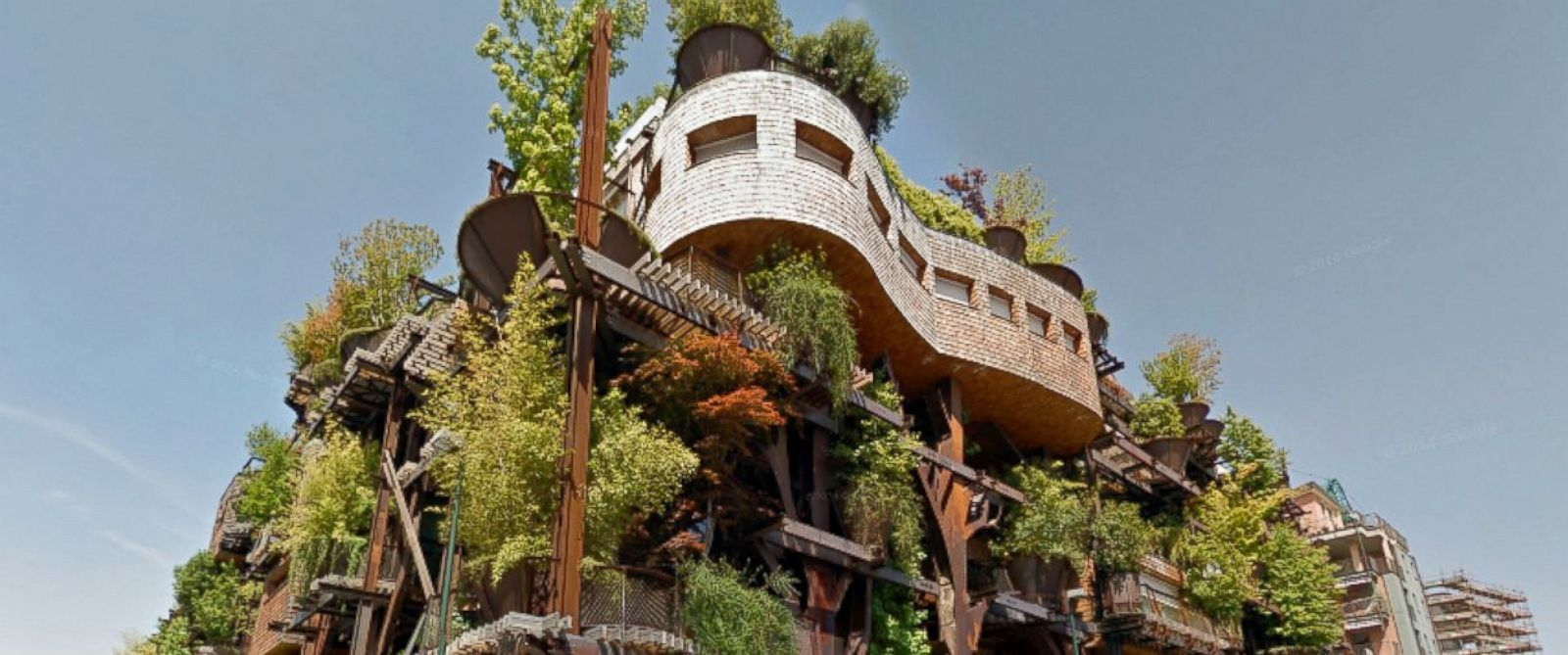 "PHOTO: This pictured apartment building in Turin, Italy, called a ""living forest"" by its architect Luciano Pia, houses 63 unique apartments and contains terraces with trees and lush gardens."