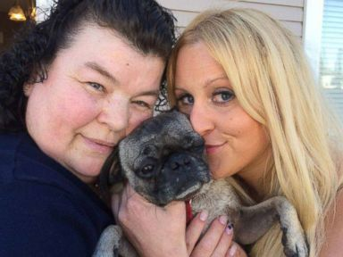 PHOTO: Justine Holmlund (right) last saw her pug Tyson in 2010 when she tied him up outside of a supermarket.
