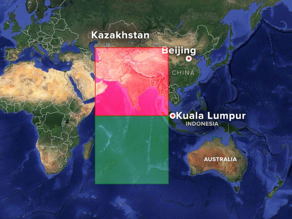 PHOTO: Malaysia officials released maps showing the northern and southern corridors where search crews are looking for a missing Malaysia Airlines plane, March 17, 2014.
