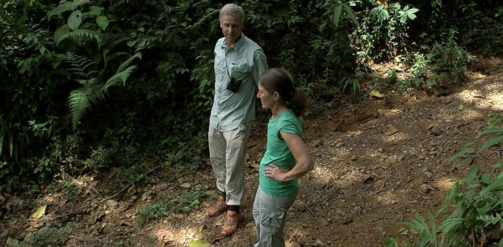 PHOTO: Roman and Peggy walk through the jungle to vent their frustrations with Carson and the local authorities in regards to the search for Cody.