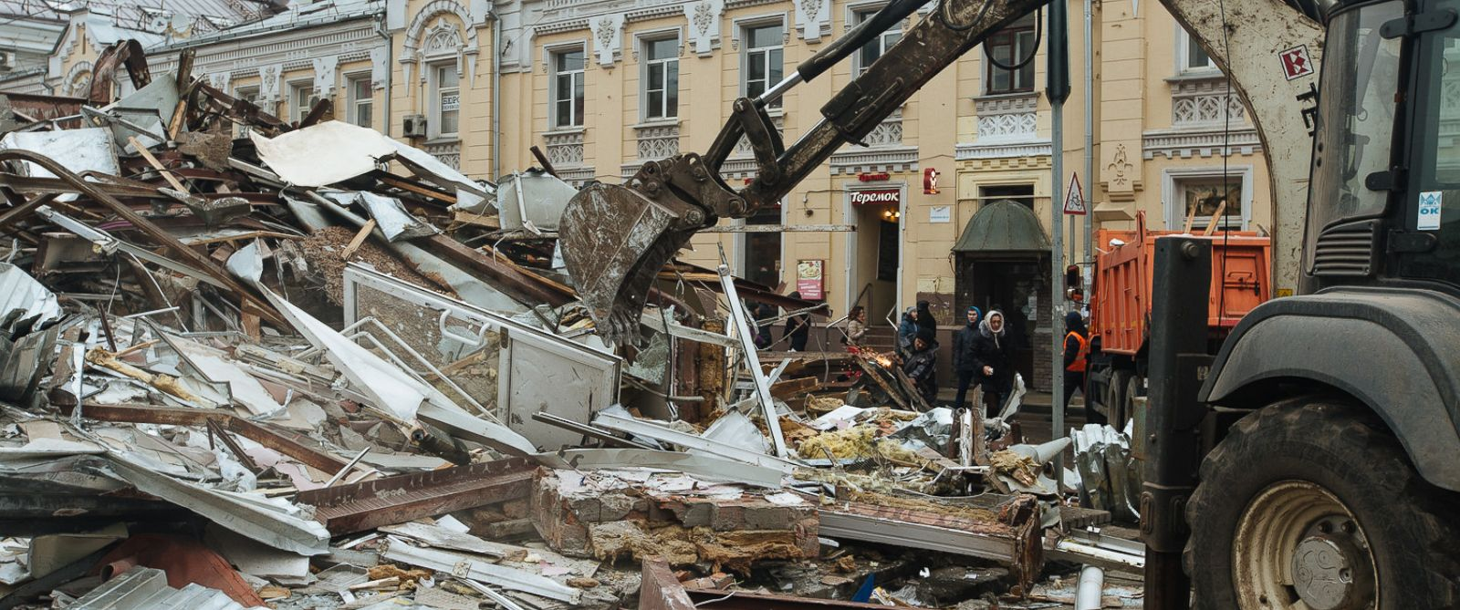 PHOTO: The scene in central Moscow after city officials bulldozed 100 makeshift shops, Feb. 9, 2016.