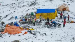 PHOTO: A photographer for 6 Summits Challenge, an international team of climbers, documented the destruction on Mt. Everest following an earthquake and avalanche on April 25, 2015.