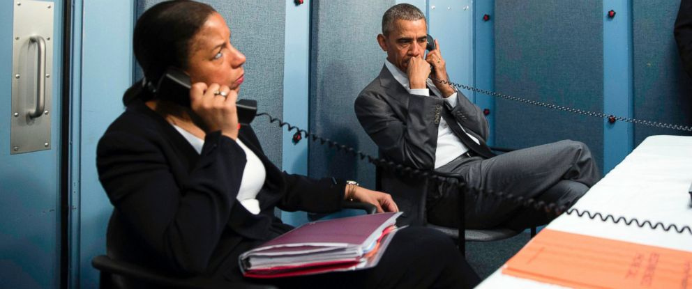 PHOTO: President Barack Obama and National Security Advisor Susan E. Rice talk on the phone with Homeland Security Advisor Lisa Monaco to receive an update on a terrorist attack in Brussels, March 22, 2016.
