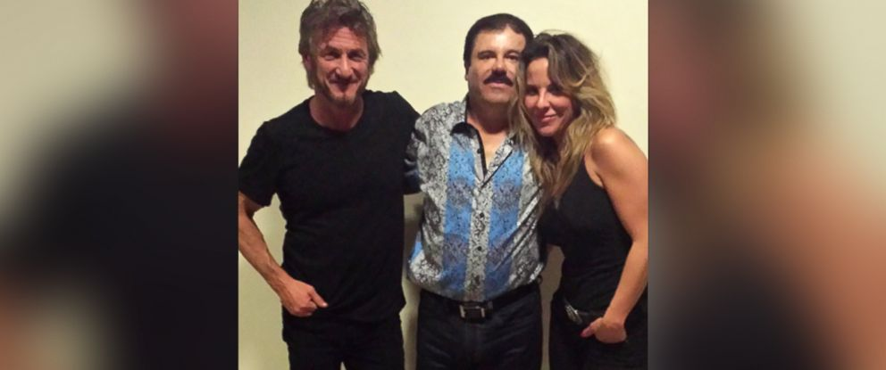 "PHOTO: Actor Sean Penn and actress Kate del Castillo are pictured together with notorious Mexican drug kingpin Joaquin ""El Chapo"" Guzman during their meeting."