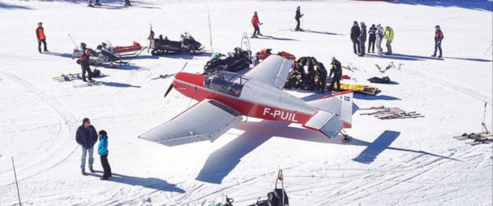 "PHOTO: tom_vh posted this photo on Instagram with this caption: ""Breaking news! Plane on the slope in avoriaz! #accident #weird #breakingnews #morzine #avoriaz #orwasitanexercise,"" March 12, 2015."
