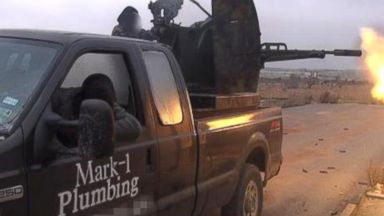 PHOTO: A truck that used to belong to a Texan plumber, and still has his companys logo and phone number on the side, has now surfaced in a Syrian extremist groups propaganda photo.